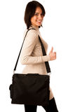 Attractive asian caucasian woman student  with briefcase  Stock Images