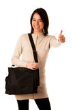 Attractive asian caucasian woman student  with briefcase  Royalty Free Stock Photo