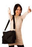 Attractive asian caucasian woman student  with briefcase  Stock Photos