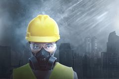Attractive Asian Construction Worker Wearing Safety Protection Stock Photos