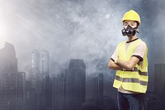 Attractive Asian Construction Worker With Protective Mask Stock Images