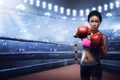 Attractive asian female boxer in boxing arena Stock Images