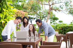 Attractive Asian Friends Outdoor Together Royalty Free Stock Photography