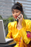 Attractive Asian Girl Calling Royalty Free Stock Photography