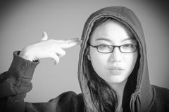 Attractive asian girl in her twenties isolated on Stock Photography