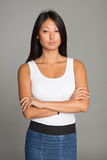 Attractive Asian girl in jeans skirt Royalty Free Stock Photos