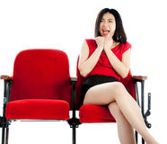 Attractive Asian girl 20s at the theatre isolate white background Stock Photo