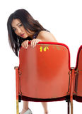Attractive Asian girl 20s at the theatre isolate white background Royalty Free Stock Photos