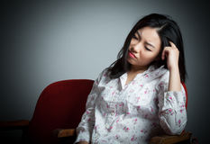 Attractive Asian girl 20s at the theatre isolate white background Stock Photos