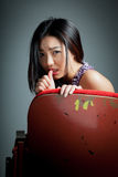 Attractive Asian girl 20s at the theatre isolate white background Royalty Free Stock Photo
