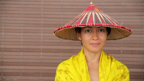 Attractive asian lady with hat Stock Image