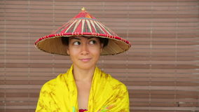 Attractive asian lady with hat Royalty Free Stock Photo