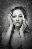 Attractive asian lady in rain Stock Images
