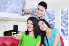 Attractive asian people take self portrait Royalty Free Stock Photography