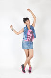 Attractive asian teenage girl. Wearing casual clothes on white background Stock Images