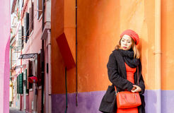 Attractive Asian tourist in Burano Royalty Free Stock Images