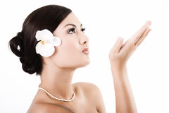 Attractive asian woman after beauty therapy. Attractive asian female relaxing after beauty therapy stock photos