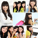 Attractive asian woman collage Stock Photo