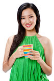 An attractive Asian woman with cup Stock Photos