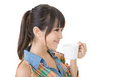Attractive asian woman with cup of coffee Royalty Free Stock Images
