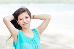 Attractive Asian woman enjoy on the beach Royalty Free Stock Photos