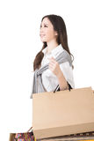Attractive asian woman holding shopping bags Stock Image