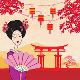 Attractive asian woman holding traditional fan. Illustration Royalty Free Stock Images