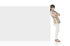 Attractive asian woman lean on blank board Stock Image