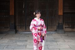 Attractive asian woman wearing kimono at Asakusa, Tokyo, Japan royalty free stock photography