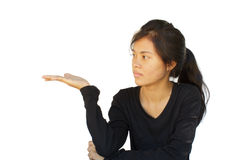 Attractive asian young girl showing Stock Photo