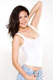 Attractive asian young woman. Stylish happy asian young woman tall and slim Stock Photos