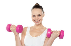 Attractive athlete exercising with dumbbells Stock Image