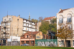Attractive autumn landscape of old Savamala Quarter in Belgrade Stock Images