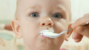 Attractive baby eats cottage cheese with spoon using mothers. Kid 1 year. Close-up