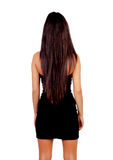 Attractive back brunette girl with long hair Stock Image