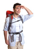 Attractive backpacker looking around Stock Photos