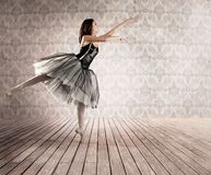 Attractive ballerina on tiptoe. In a vintage background Stock Photography