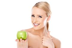 Attractive Bare Woman Holding Green Apple Stock Photo