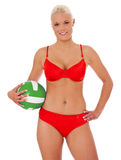 Attractive beach volleyball player Royalty Free Stock Photo