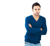 Attractive bearded adult on white background Stock Image