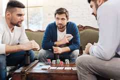 Attractive bearded man bluffing Royalty Free Stock Images