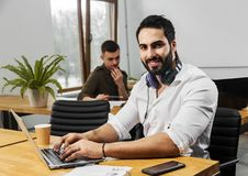 Man Works in Office stock images