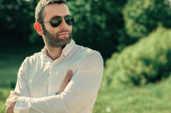 Attractive bearded model man. Young handsome attractive bearded model man Stock Photo