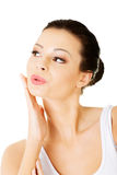 Attractive beautiful female face. royalty free stock images