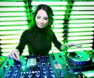 Attractive beautiful girl DJ Royalty Free Stock Photography