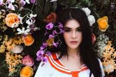Attractive beautiful girl has beautiful face and nice skin like a flower. royalty free stock images