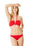 Attractive and beautiful girl in a swimsuit Stock Photos