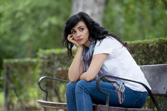 Attractive beautiful latin woman feeling sad and depressed Stock Images