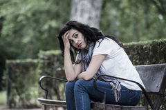 Attractive beautiful latin woman feeling sad and depressed Royalty Free Stock Photography