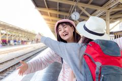 Attractive beautiful woman is coming back from working at oversea or foreign country. Pretty woman is going to embrace younger royalty free stock photos